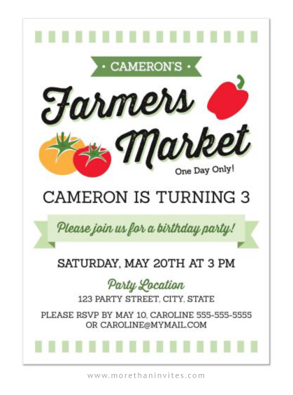 Fun farmers market birthday party invite with pepper, tomatoes and green banner.