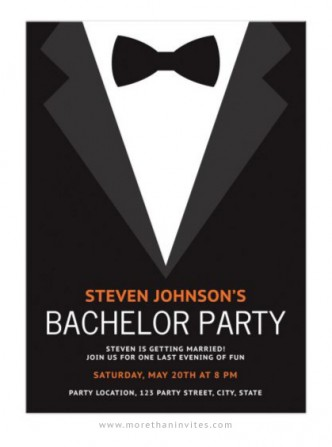 Bachelor party invite with suit tuxedo and black bow tie