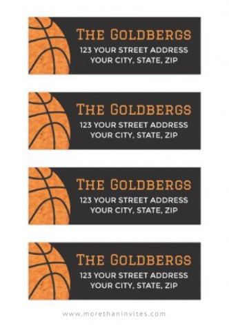 Dark gray Bar Mitzvah mailing labels with orange basketball