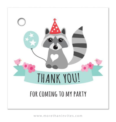 Raccoon wearing a red party hat, cute birthday party thank you tag