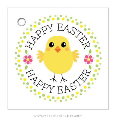 Cute gift tag with chicken and text Happy Easter