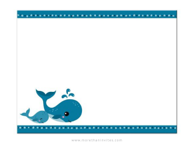 Cute, flat baby shower thank you note card with mommy and baby whale