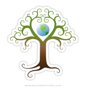 Earth tree sticker, tree with branches surrounding planet earth