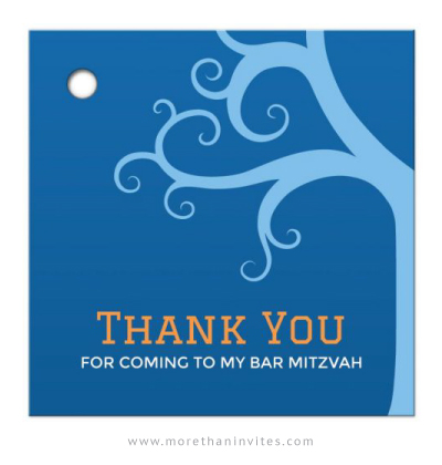 Tree of life blue Bar Mitzvah favor thank you tag