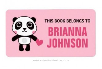 Cute panda holding a pink heart book label for girls