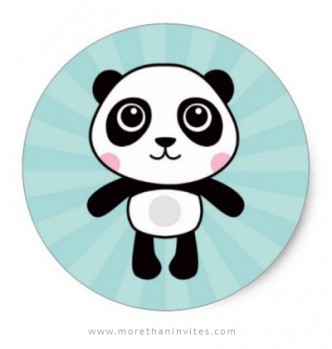 Cute panda sticker with little cartoon panda on aqua blue sunburst.
