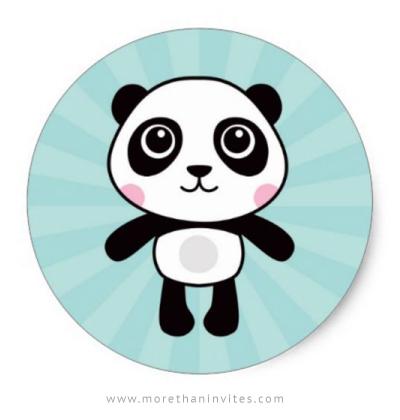 Cute panda sticker with little cartoon panda on aqua blue sunburst.
