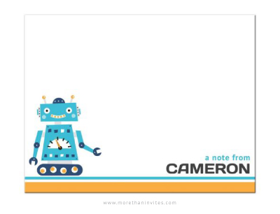Flat, personalized notecard stationery for boys with cute retro robot