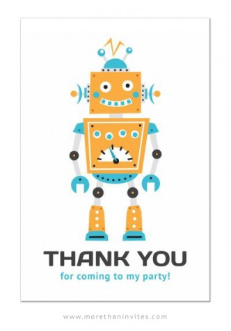 Birthday party thank you postcard for boys with cute, retro robot.