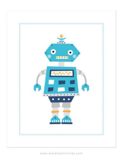 Retro robot, cute nursery wall art for boys - More than invites