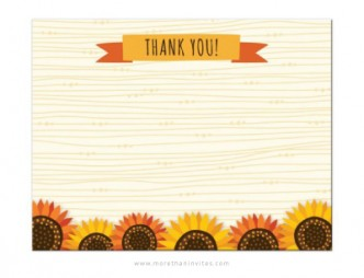 Cute thank you note card with whimsical red and yellow sunflowers