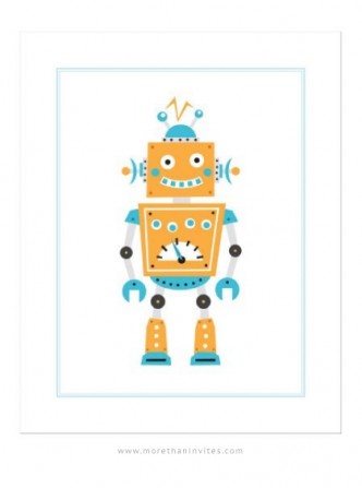 Cute nursery wall art for boys featuring a retro cartoon robot.