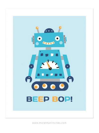Cute wall art for little boys featuring a little retro robot.