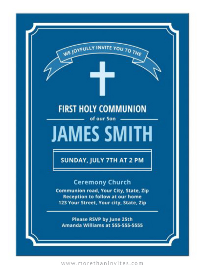 Modern, blue first holy communion invite for boys.