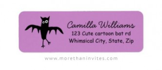 Cute return address label for kids and women with funny bat on purple background.