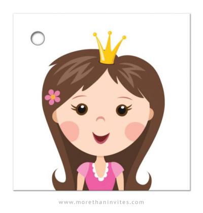 Favor tag with cute cartoon princess