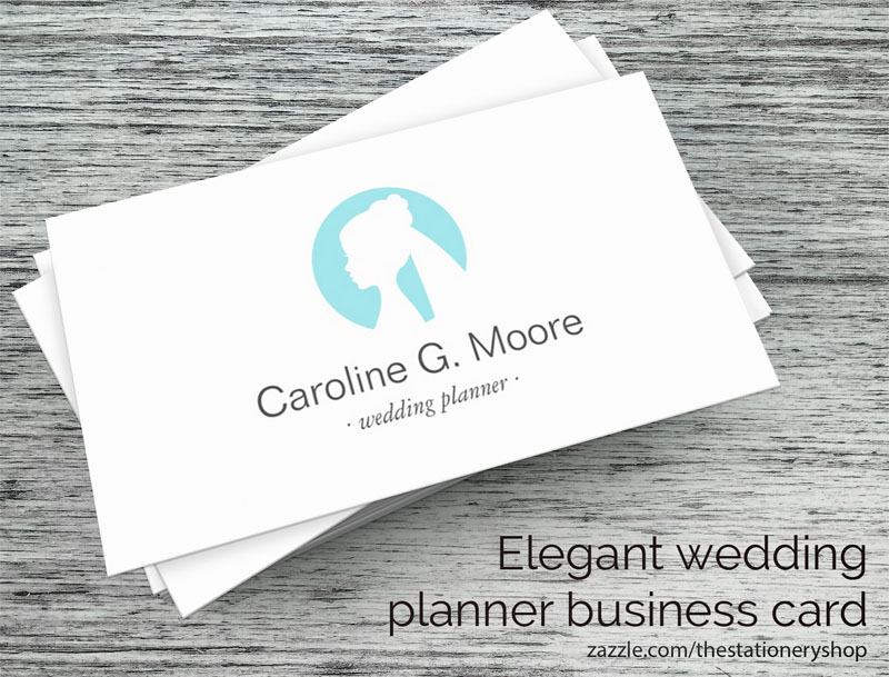 Modern and minimal wedding planner or stylist business card with aqua blue bride logo