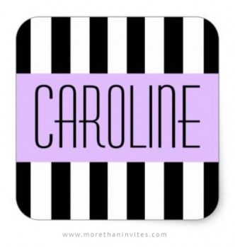 Black and white fashion stripes name tag