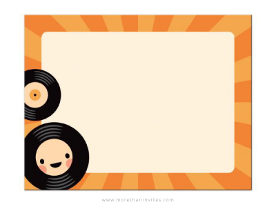 Cute, flat note card stationery with kawaii LP vinyl record.