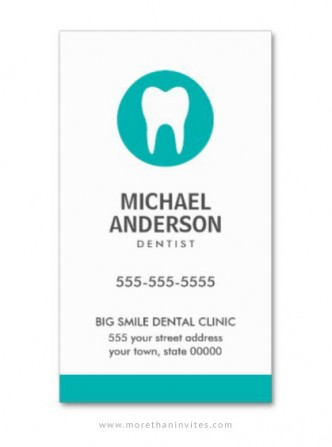 Modern and minimal dental care business card with teal tooth logo