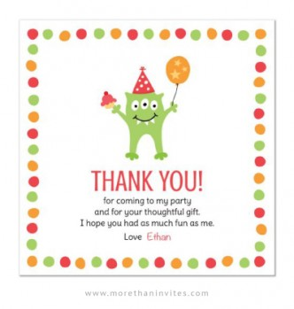 Cute monster party thank you card.