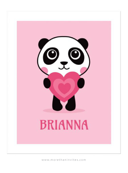 Cute panda holding a pink heart nursery wall art for girls