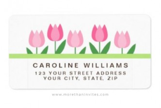 Pretty return address label with pink tulips