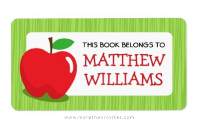 Bookplate for boys and girls with red apple and green border