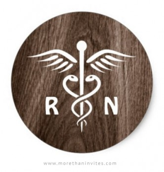 Registered nurse sticker with brown woodgrain background.