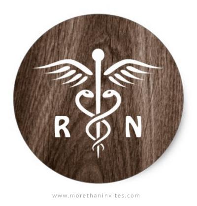 Registered nurse sticker with brown woodgrain background.