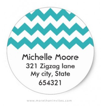 Chic and girly return address label with teal aqua blue chevron stripes
