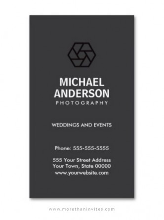 Photographer business card with lens shutter logo