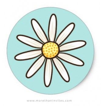 White daisy baby shower envelope seal