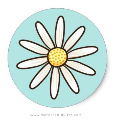 White daisy baby shower envelope seal
