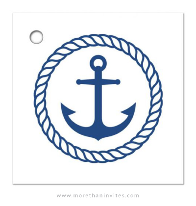 Nautical Thank You Tag With Anchor Inside Rope Border