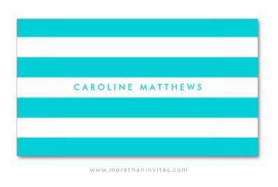 Aqua blue mod stripes professional profile card for women