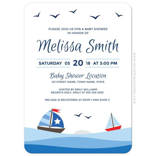 Nautical baby shower invitation with cute sailboats, waves and birds. Coastal scene.