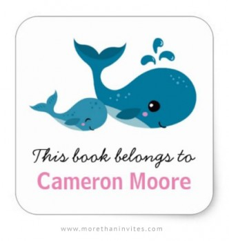 Bookplate tickers for kids with cute mommy and baby whales
