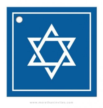 Bar Mitzvah favor tag with white Star of David on blue