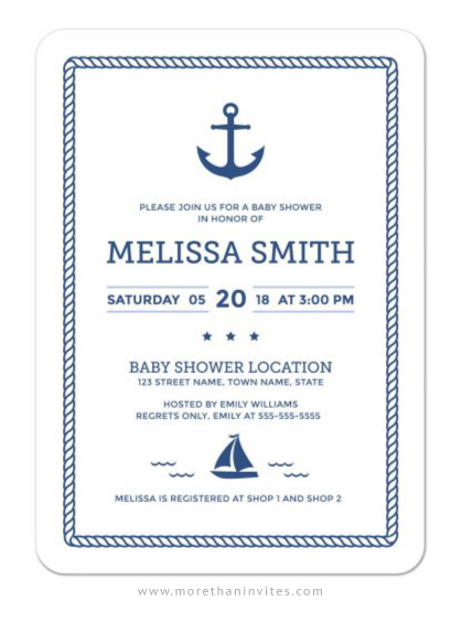 Elegant nautical baby shower invitation with anchor and sailboat