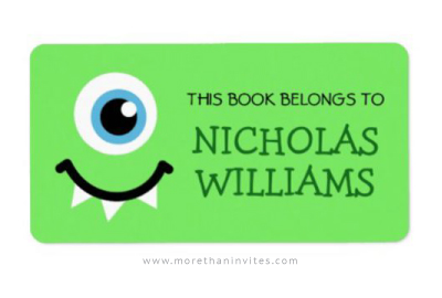 Cute one-eyed monster book label for school
