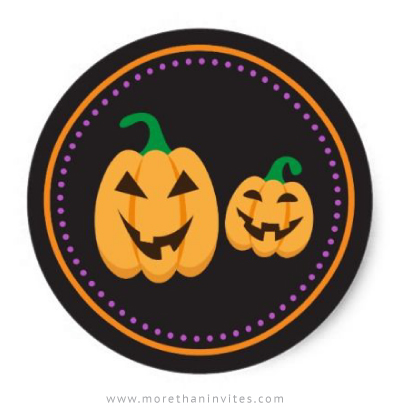 Happy jack o lantern Halloween stickers or envelope seals
