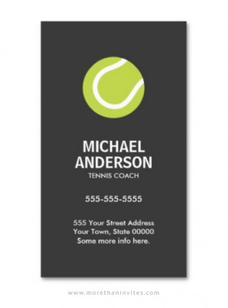 Elegant, minimal tennis coach or player professional business card