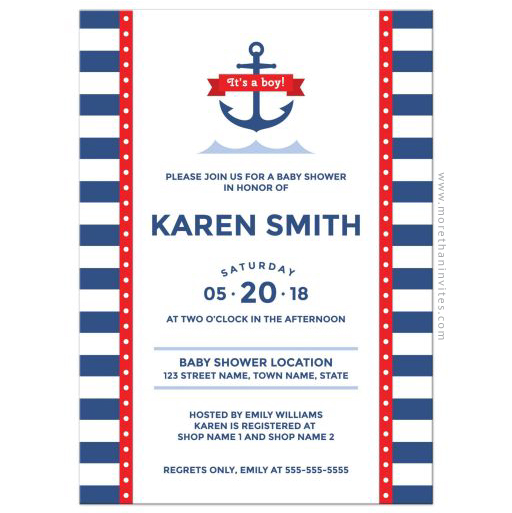 Nautical it's a boy baby shower invitation with anchor and striped pattern