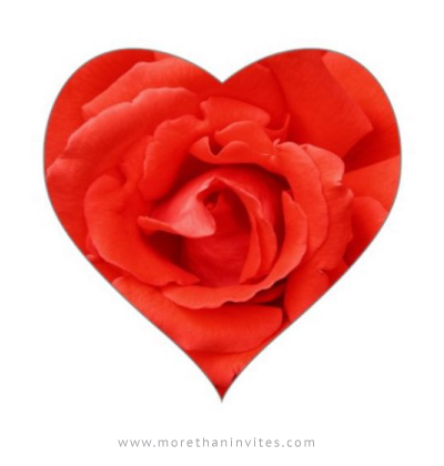 Elegant heart shaped stickers with red rose