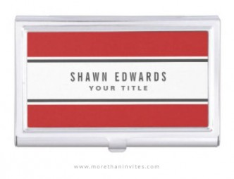 Modern business card case with red borders