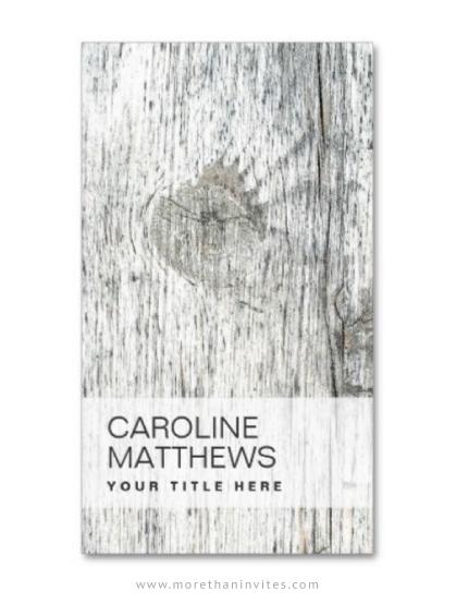 Rustic gray wood interior designer business card