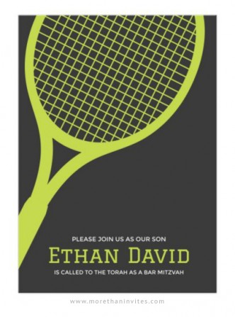 Modern Bar Mitzvah invite with tennis racket on a dark gray background