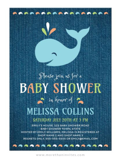Whale baby shower invitation with denim background