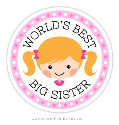 Big sister sticker with cute, blond cartoon girl